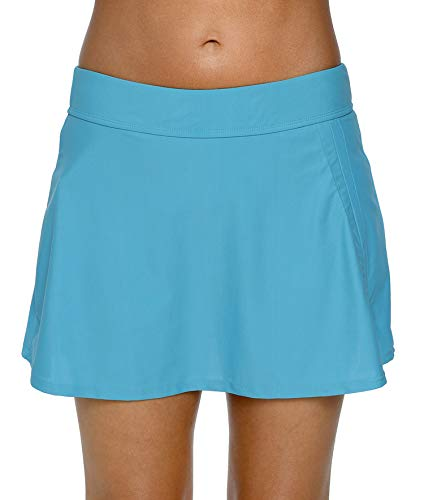 Charmo Frauen Badebekleidung Badeanzug Rock gebaut in Bikini Bottom Baderock Schwimmrock Bikini mit Hotpants, Blau, M