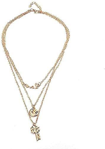 ZJJLWL Co.,ltd Collar Mujer Collar Hombre Collar Color Letra Clave Luna Corazón Cadena Larga Collares y Colgantes para Mujer Día de San ValentínJoyería Regalo Niñas Niños Collar