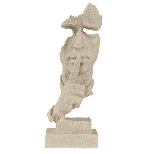 Wifehelper Stille ist Golden - Gesicht Skulptur Harz Statue abstrakte Moderne Kunst Figuren Statue Carving Statuen für Zuhause Wohnzimmer Büro Dekor(Sand Farbe)