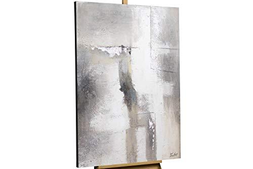 Kunstloft® Cuadro en acrílico 'Pared de Niebla' 80x120cm | Original Pintura XXL Pintado a Mano sobre Lienzo | Abstracto Beige Gris | Cuadro acrílico de Arte Moderno en una Pieza con Marco