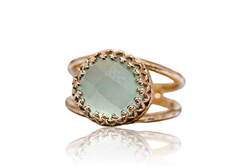 Anemone Jewelry Delicate Aqua Chalcedony in 14K Rose Gold-filled Ring Band - Adorable March Birthstone in Ring Sizes 3-12.5 - Birthstone Jewelry for Parties, Casual Wear and Gift - Free Fancy Box