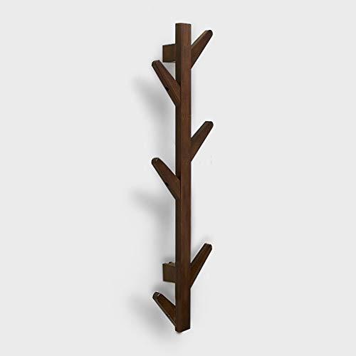 Ninggk Wandkapstok, modern, verticaal, van bamboe, in de vorm van een boom, met 6/8 haken, decoratief, van hout, haken voor het ophangen van kleding, sleutels, handdoek, badjas 6 hook