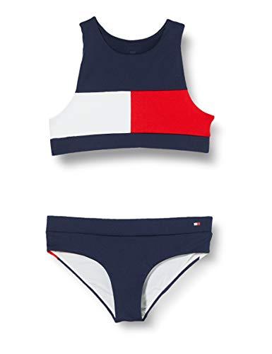 Tommy Hilfiger Mädchen Crop Top Bikini-Set, Blau (Pitch Blue 654-870), 8-10 jahre