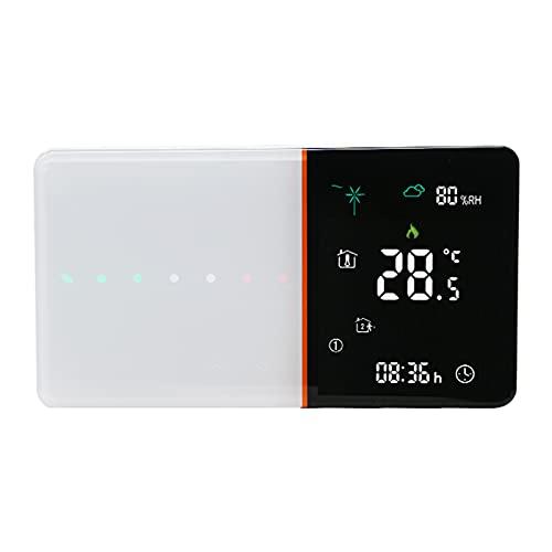 Decdeal Termostato Inteligente Programable para Calefacción de Calderas de Gas,Control de App de Voz,Retroiluminación LCD,�ndice de Humedad del Tiempo Pantalla,Compatible con Amazon Echo/Google Home