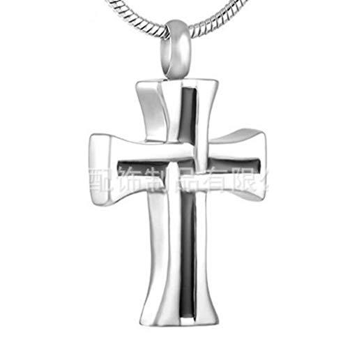 Cremación Recuerdo Collar Collar conmemorativo de urna de mascotas con colgante de cruz de dos tonos retro de acero inoxidable para amantes de la familia urna cremación collar memorial