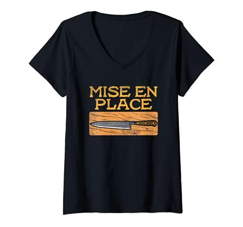 Mujer Mise En Place Cuchillo De Cocina Cocinero Gastronomía Camiseta Cuello V