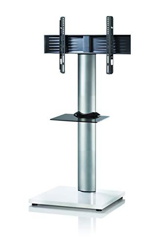 VCM Zw Support TV, Stand Onu Mini avec étagère, Aluminium, Laqué Blanc/Verre Noir, 130x68x54 cm