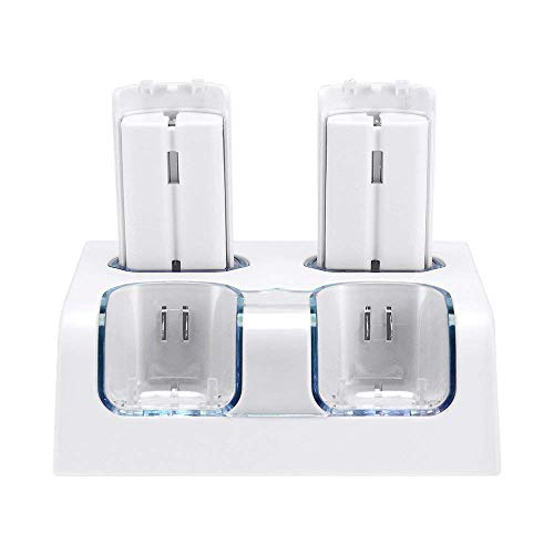 Charging Dock for Wii, Uniway 4 in 1 Remote Charging Dock with 4 Rechargeable Batteries and LED Light Indicators-White