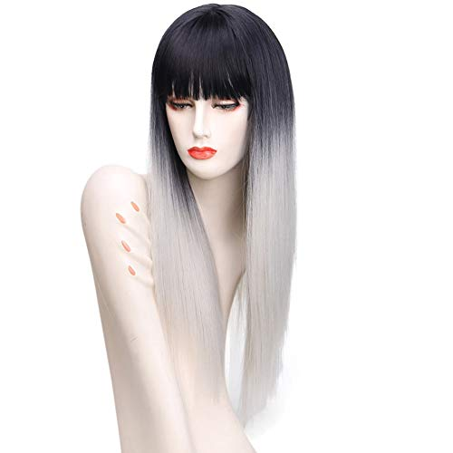 JAFA 26 Pouces Longue Ligne Droite Noire Argent Gris Ombre Perruque Frange pour Les Femmes Blanches Synthétiques Perruques De Cheveux Naturels