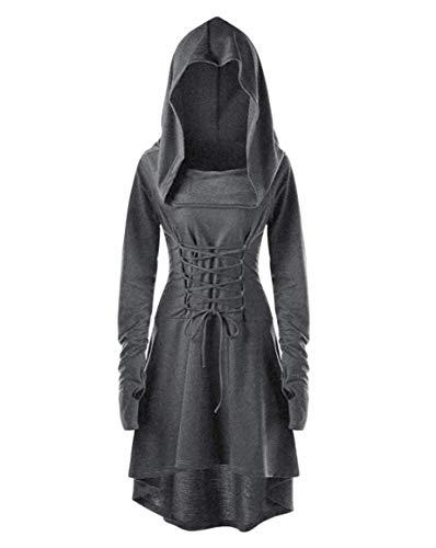 chuangminghangqi Renaissance Kostüm Damen Robe zum Schnüren Mittelalter Kleid mit Kapuze Langarm Retro Gothic Cosplay Halloween Karneval (M, Grau)