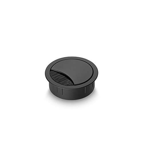 Eisnhauer® Kabeldose Edelstahl schwarz lackiert 60 mm Bohrdurchmesser mit Bürstendichtung, abnehmbarem Deckel in vier Positionen arretierbar, Höhe ca. 21 mm, für die Kabeldurchführung mehrerer Kabel geeignet