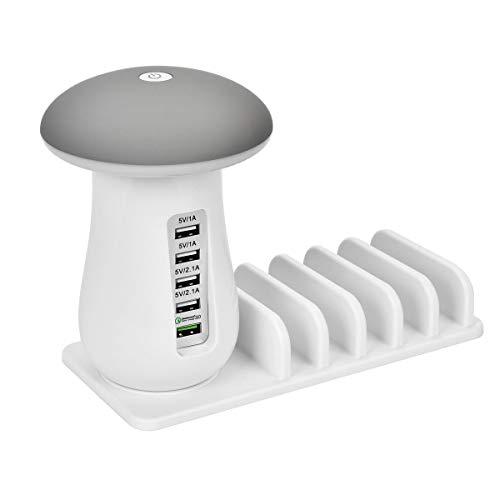 Mushroom USB-oplaadstandaard organizer met LED tafellampen creatieve studie nachtlampje moderne bureaulamp 3.0 snel opladen voor smartphones, tablets en andere gadgets