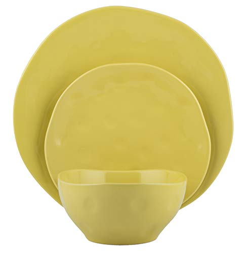 Melange Stoneware 36-Piece Dinnerware Set | Irregular Shape Collection | Service for 12 | Microwave, Dishwasher & Oven Safe | Dinner Plate, Salad Plate & Soup Bowl, Yellow (12 Each)