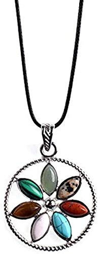 FACAIBA Necklace Classic Rainbow 7 Stone Yoga Necklace Leather Chains Crystal Jewelry Chain of Length 45+5 cm Gifts