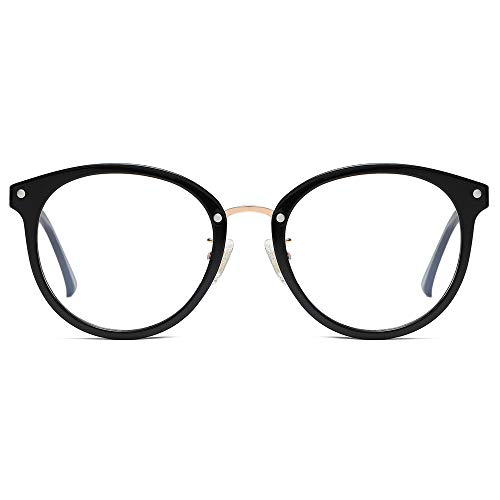 SOJOS Retro Round Blue Light Blocking Glasses TR90 Computer Eyeglasses Ashley SJ9001 with Black Frame/Anti-Blue Light Lens