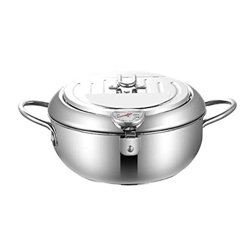 Tempura Deep Fryer, Stainless Steel Deep Frying Pot Temperature Control Fried Chicken Tempura Fryer Pan, Japanese Fryer Pot Mini Deep Fryer Pan with Drainer With Lid for Kitchen Cooker Home Gas Stove