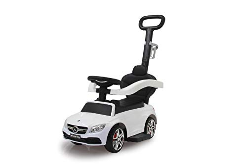 JAMARA 460448 Rutscher Mercedes-AMG C 63 3in1-Kippschutz, Kofferraum, Schub-und Haltestange mit Lenkfunktion, Rückenlehne, Schutzbügel, ausziehbare Fußauflage, Sound/Hupe am Lenkrad, weiß