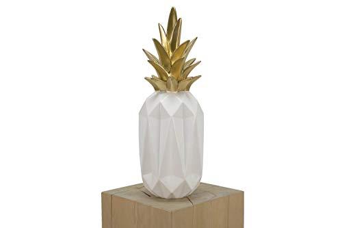 KunstLoft® Skulptur 'Pineapplicious' 19x19x54cm   Moderne Kunststein-Figur   Ananas Deko Weiß Gold   Statue als Unikat - Handgefertigtes Kunstwerk   Schöne Wohnzimmer-Dekoration