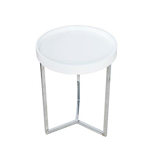 Invicta Interior Extravaganter Couchtisch MODULAR Silber weiß rund inkl. Tablett Beistelltisch
