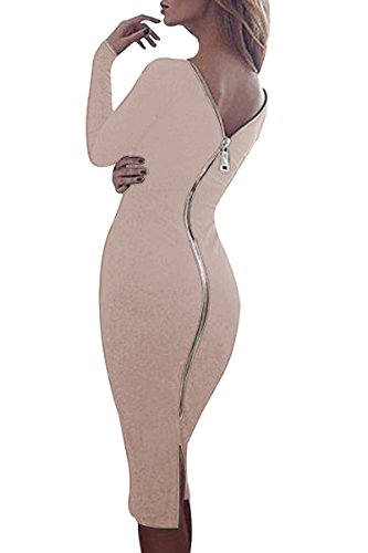 YMING Damen Langarmkleid Figurbetontes Kleid Reißverschluss Hinten Rückenfreies Kleid Knielanges...