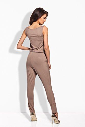 Lemoniade stylischer Jumpsuit ohne Ärmel mit elegantem Wasserfallkragen, schwarz, Gr. M - 4