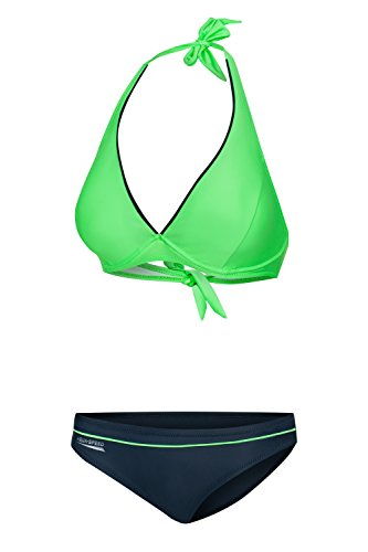 Aqua Speed Damen Bikini Set I Zweiteiler I Two Piece Swimsuit I Zweiteilige Badebekleidung I Bikinis for Women I Strandurlaub I Beach I Grün-Grau, Gr. 40D I Palm Beach + UP Schlüsselband