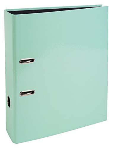 Exacompta 53568E Aquarel Prem'Touch - Archivador de palanca con tapa de cartón forrado e interior negro, lomo de 8 cm, A4, color verde pastel