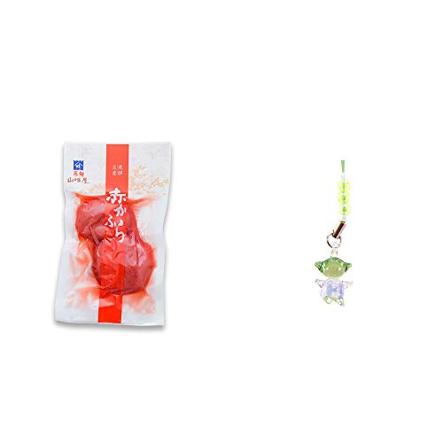 [2点セット] 飛騨山味屋 赤かぶら【小】(140g)・ガラスのさるぼぼ 手作りキーホルダー 【緑】 /健康運・平穏・病気を寄付けない・健康祈願//