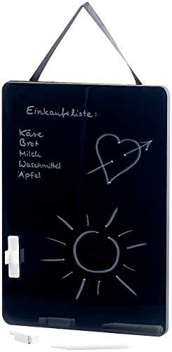 infactory Schreibtafel: Schwarze Memotafel mit weißem Stift, wiederbeschreibbar, 27,5 x 20 cm (Blackboard)