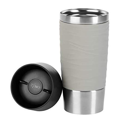 Emsa Travel Mug Waves Isolierbecher N20108   0,36 L   bis zu 4h heiß und 8h kalt   100% dichter Thermobecher   360°-Trinköffnung   Quick Press Verschluss   Kaffee to Go   Puder-Grau