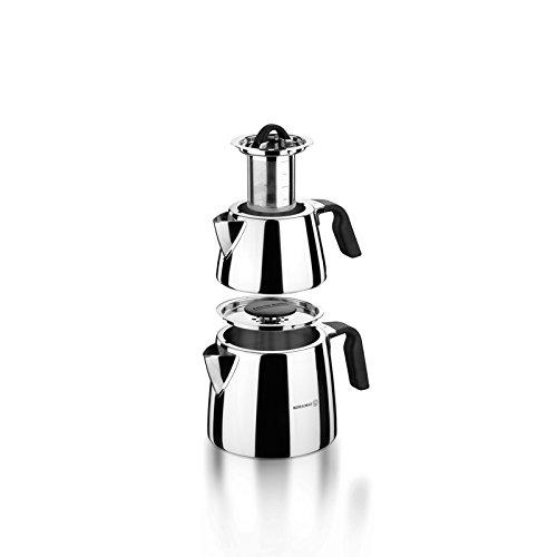 Korkmaz Esta Drip-Free Turkish Tea Pot with Safe Lid Locking System - 1.1 & 2 Quart ... by Korkmaz
