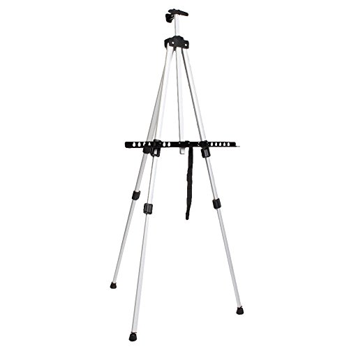 JTW-Best Display strong and lightweight Easels Adjustable Tripod Aluminium Alloy W/ Carry Bag white color