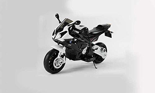 Babycar Moto per Bambini BMW Moto elettrica 12 Volt con Seduta in Pelle e Ruote in Gomma ( Nero )
