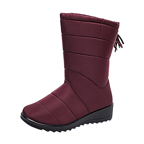 DKBL Snow Boots for Women Fashion Slope Heel Snow Boots Autumn and Winter Long Snow Boots Warm High Boots Red