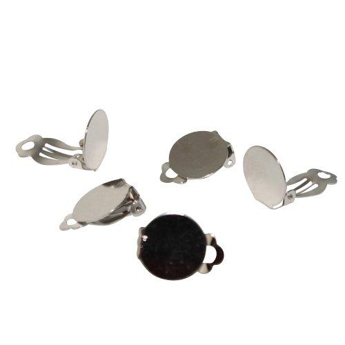 Ohrclips mit Platte silber (10257) 15mm 10Stk.