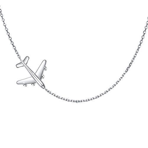 Airplane Sideways Choker Necklace S925 Sterling Silver Aircraft Jelwery Adjustable Chain 15+3 Inch for Women Girls, Best Gifts for Stewardess Flight Attendants (Choker)