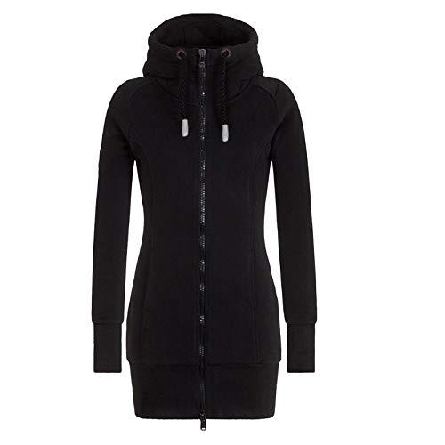 riou Damen Sweatjacke Lang mit Kapuze Winter Baumwolle Oversize Hoodie Sweatshirt Kapuzenpullover mit Reißverschluss