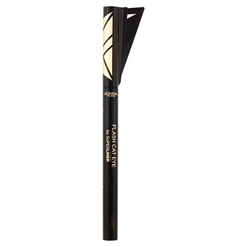 L'Oréal Paris Wasserfester Eyeliner mit Schablone, 24h Halt, Super Liner Flash Cat Eye, Nr. 01 Black, 1 x 0,1 g