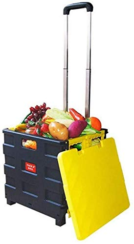 N/Z Haushaltsgeräte Tragbarer Faltbarer Kunststoff-Einkaufswagen Leichter Lehrbuchwagen Faltbarer Aufbewahrungskasten mit Rädern und Aluminiumgriff (Farbe: Rot + Schwarz)