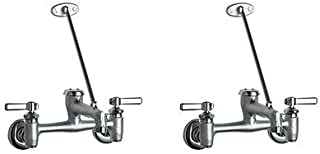 Chicago Faucets 897-RCF Wall Mount Adjustable Center Service Sink Faucet, Rough Chrome (2-(Pack))