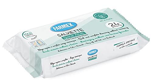 Farmex Salviette Umidificate Igiene Intima- Salvietta Igienizzante Mis. 20x30cm - Salviettina Intima - 24 pezzi