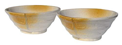 GOTO Ammonite - Cuencos de cerámica de color blanco y ámbar japonés para dos
