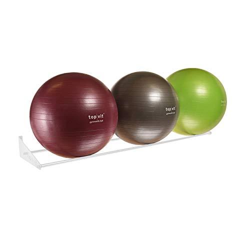 top | vit® Ball.wandhalter - Wandhalterung für bis zu 3 Gymnastikbälle (Weiss)