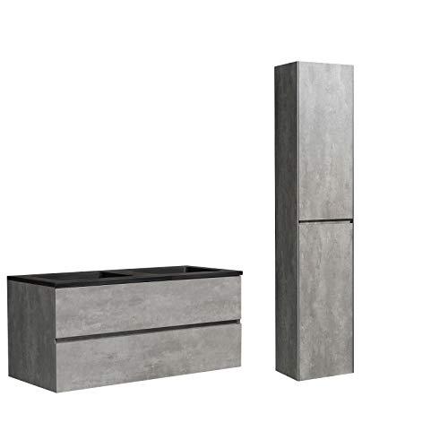 Juego de muebles de baño Edge 1200 – Color a elegir – Espejo y armario lateral opcional