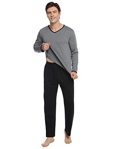 Abollria Pijamas Hombre Algodón 2 Piezas Mangas Larga Pantalon Largo Invierno Cómodo y Agradable (XXL, Negro_3)