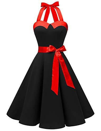 Dressystar Vestidos Corto Cuello Halter Estampado Flores y Lunares Vintage Retro Fiesta 50s 60s Rockabilly Mujer Negro Solido XXL