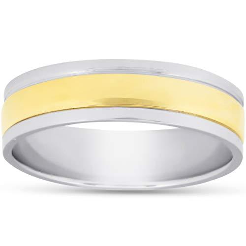 Anillo de boda de 6 mm de platino 950 y oro de 18 quilates de dos tonos