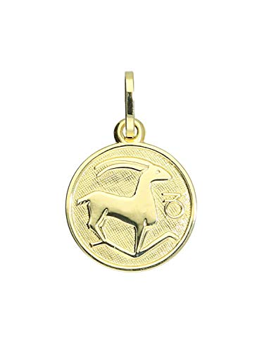 Sternzeichen Anhänger Steinbock (Ohne Kette) Gelbgold 333 Gold (8 Karat) Ø 12mm Rund Tierkreiszeichen Horoskop Kettenanhänger Zodiac round A-06017-G303-Ste