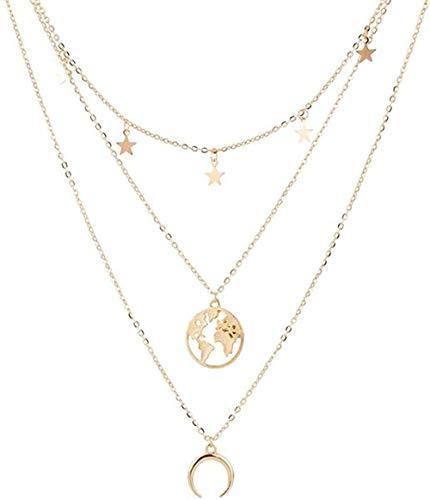 NC188 Collar de Moda Mapa Colgante de Luna Collar para Mujer Multicapa Oro Plata Color clavícula Chian Collares Largos joyería