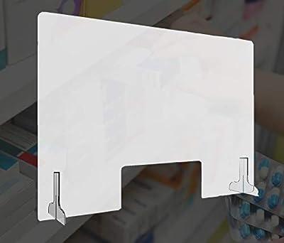 3 Pcs / 2 Soportes y 1 Mampara protectora 2 Medidas dependiendo tus necesidades Fácil colocación/instalación Protégete a ti y a tus clientes. Duradero.